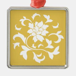 Oriental Flower - Mustard Yellow Circular Pattern Metal Ornament