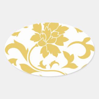 Oriental Flower - Mustard Yellow Circular Pattern Oval Sticker