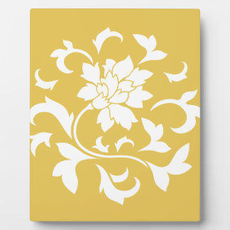 Oriental Flower - Mustard Yellow Circular Pattern Plaque