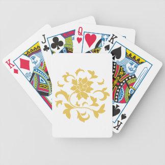 Oriental Flower - Mustard Yellow Circular Pattern Poker Deck