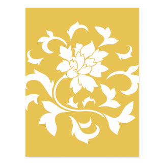 Oriental Flower - Mustard Yellow Circular Pattern Postcard