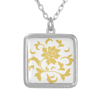 Oriental Flower - Mustard Yellow Circular Pattern Silver Plated Necklace