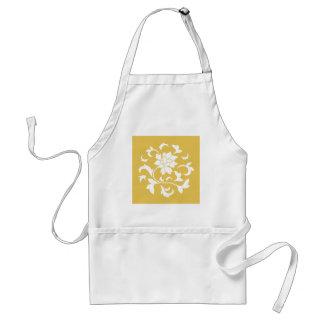 Oriental Flower - Mustard Yellow Circular Pattern Standard Apron