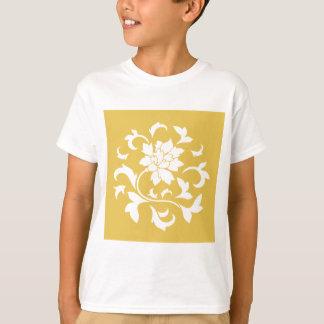 Oriental Flower - Mustard Yellow Circular Pattern T-Shirt