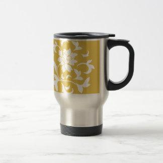 Oriental Flower - Mustard Yellow Circular Pattern Travel Mug