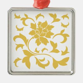 Oriental Flower - Mustard Yellow Metal Ornament