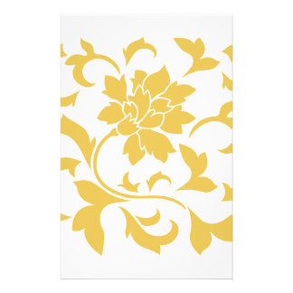 Oriental Flower - Mustard Yellow Personalized Stationery