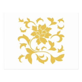 Oriental Flower - Mustard Yellow Postcard