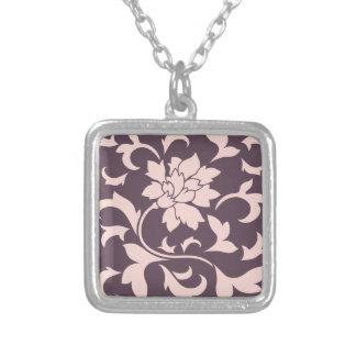 Oriental Flower - Rose Quartz & Cherry Chocolate Silver Plated Necklace