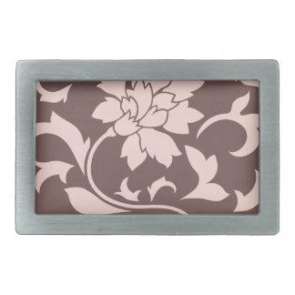 Oriental Flower - Rose Quartz & Chocolate Belt Buckle