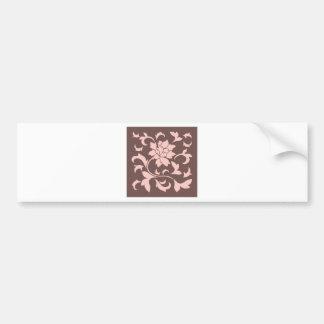 Oriental Flower - Rose Quartz & Chocolate Bumper Sticker
