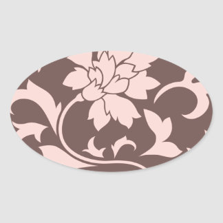 Oriental Flower - Rose Quartz & Chocolate Oval Sticker
