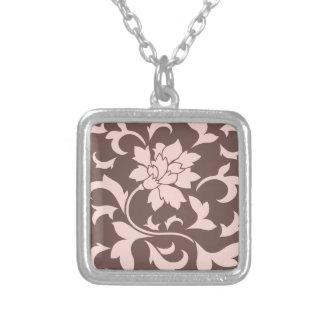 Oriental Flower - Rose Quartz & Chocolate Silver Plated Necklace