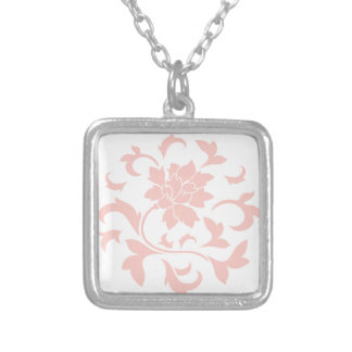 Oriental Flower - Rose Quartz Circular Pattern Silver Plated Necklace