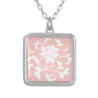 Oriental Flower - Rose Quartz Circular Pattern Silver Plated Necklace