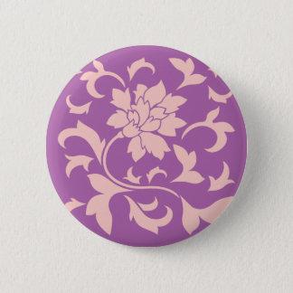 Oriental Flower - Rose Quartz & Radiant Orchid 2 Inch Round Button