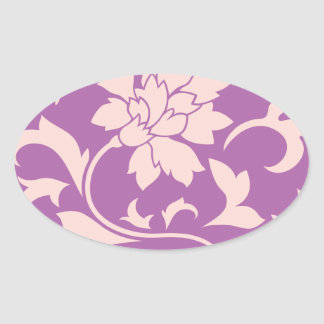 Oriental Flower - Rose Quartz & Radiant Orchid Oval Sticker