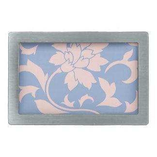 Oriental Flower - Rose Quartz & Serenity Blue Belt Buckles