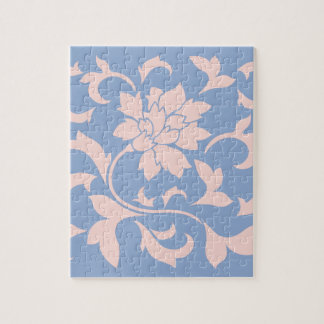 Oriental Flower - Rose Quartz & Serenity Blue Jigsaw Puzzle