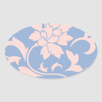 Oriental Flower - Rose Quartz & Serenity Blue Oval Sticker