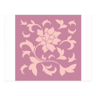 Oriental Flower - Rose Quartz & Strawberry Postcard