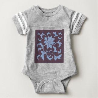 Oriental Flower - Serenity Blue & Cherry Chocolate Baby Bodysuit