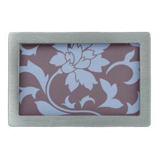 Oriental Flower - Serenity Blue & Cherry Chocolate Belt Buckles