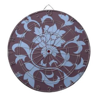 Oriental Flower - Serenity Blue & Cherry Chocolate Dartboard
