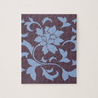 Oriental Flower - Serenity Blue & Cherry Chocolate Jigsaw Puzzle