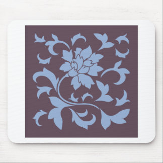 Oriental Flower - Serenity Blue & Cherry Chocolate Mouse Pad