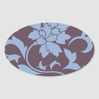 Oriental Flower - Serenity Blue & Cherry Chocolate Oval Sticker