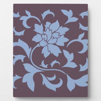 Oriental Flower - Serenity Blue & Cherry Chocolate Plaque