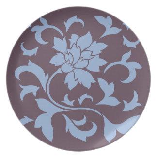 Oriental Flower - Serenity Blue & Cherry Chocolate Plate