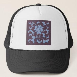 Oriental Flower - Serenity Blue & Cherry Chocolate Trucker Hat