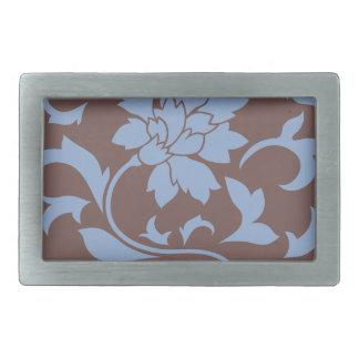Oriental Flower - Serenity Blue & Chocolate Belt Buckles