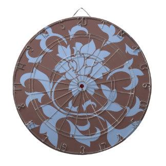 Oriental Flower - Serenity Blue & Chocolate Dartboard