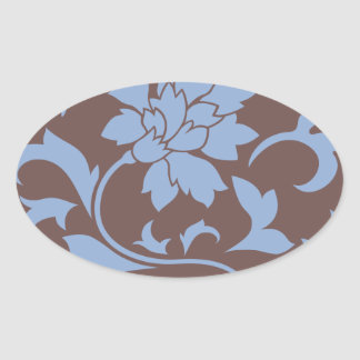 Oriental Flower - Serenity Blue & Chocolate Oval Sticker