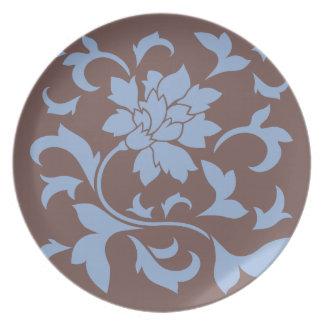 Oriental Flower - Serenity Blue & Chocolate Plate