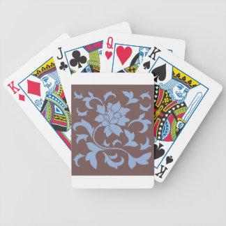 Oriental Flower - Serenity Blue & Chocolate Poker Deck