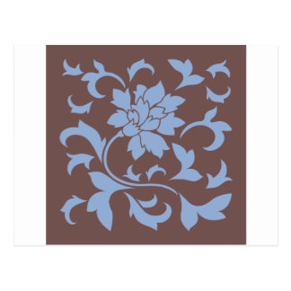 Oriental Flower - Serenity Blue & Chocolate Postcard