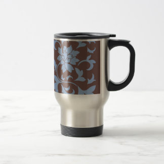 Oriental Flower - Serenity Blue & Chocolate Travel Mug