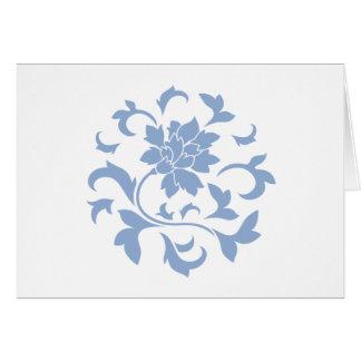 Oriental Flower - Serenity Blue Circular Pattern Card