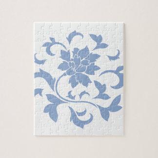 Oriental Flower - Serenity Blue Circular Pattern Jigsaw Puzzle