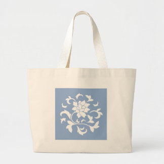 Oriental Flower - Serenity Blue Circular Pattern Large Tote Bag