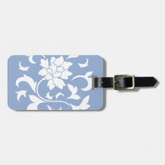 Oriental Flower - Serenity Blue Circular Pattern Luggage Tag