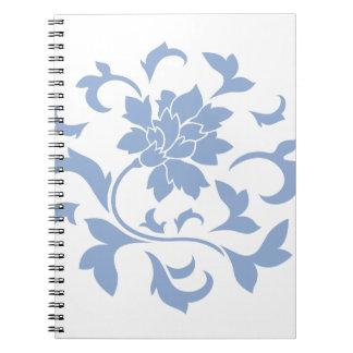 Oriental Flower - Serenity Blue Circular Pattern Notebooks
