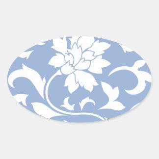 Oriental Flower - Serenity Blue Circular Pattern Oval Sticker