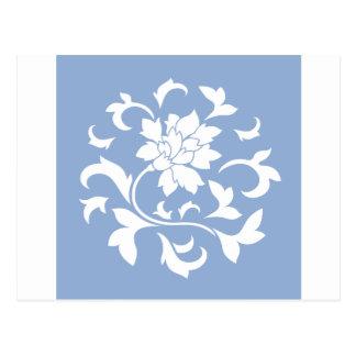 Oriental Flower - Serenity Blue Circular Pattern Postcard