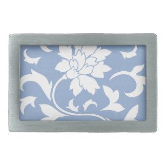 Oriental Flower - Serenity Blue Circular Pattern Rectangular Belt Buckle