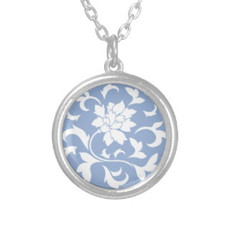 Oriental Flower - Serenity Blue Circular Pattern Silver Plated Necklace